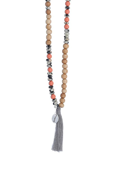 Antique Bone Mix Tassel Necklace