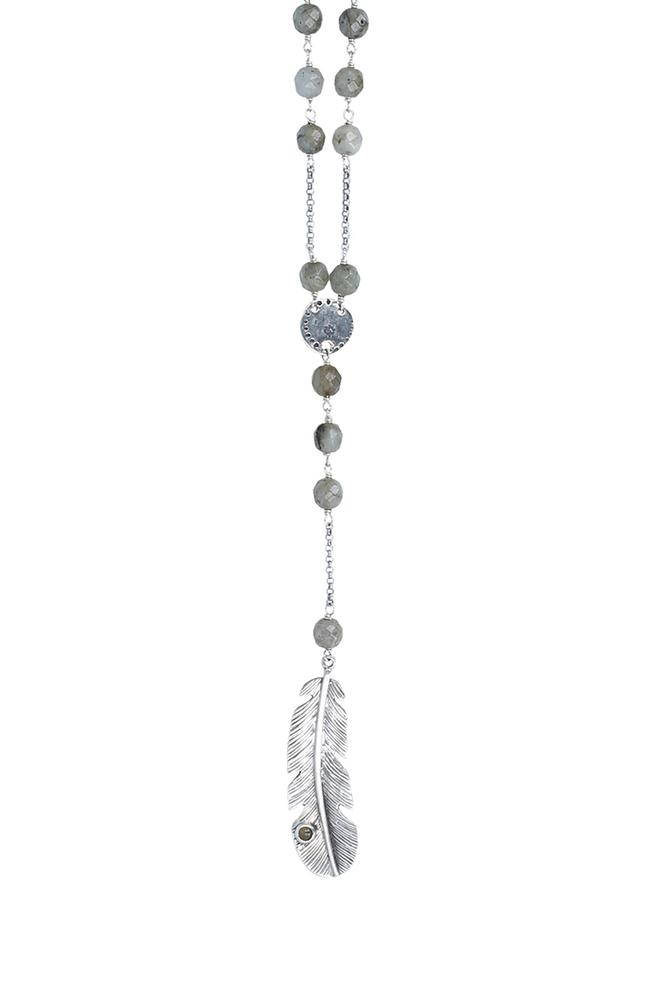 Labradorite Feather Pendant Necklace