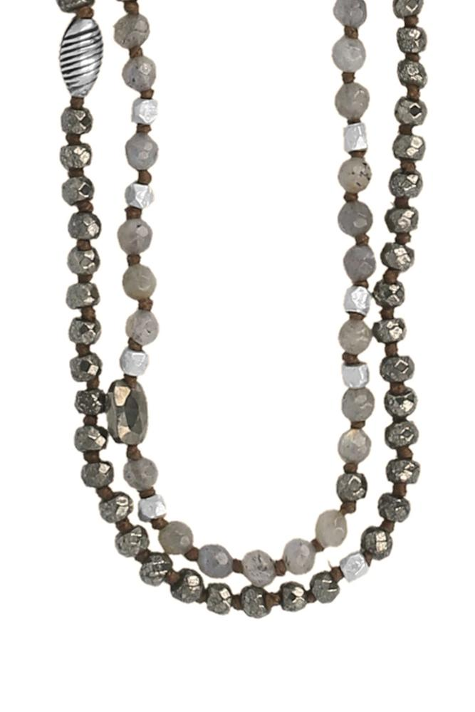 Labradorite Mix Double Strand Layering Necklace