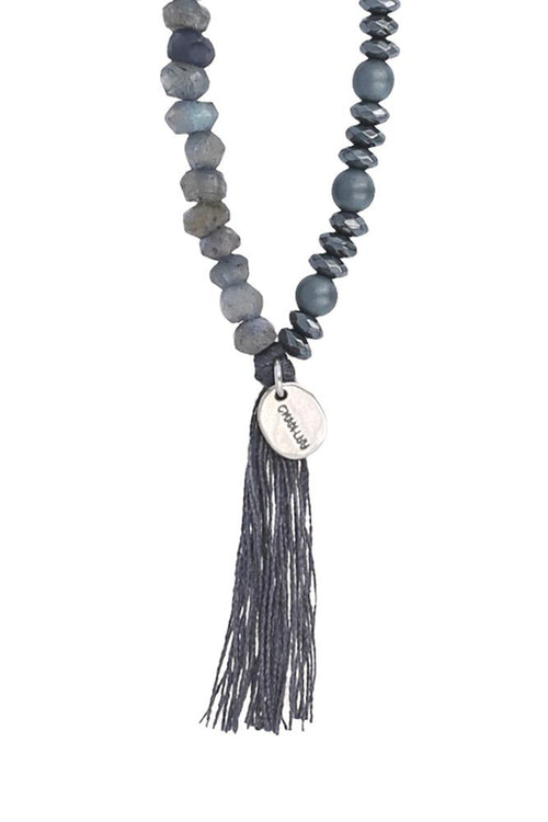 Blue Lab Mix Tassel Necklace