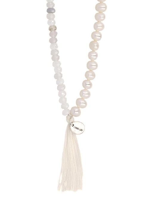Mystic Clear Mix Tassel Necklace