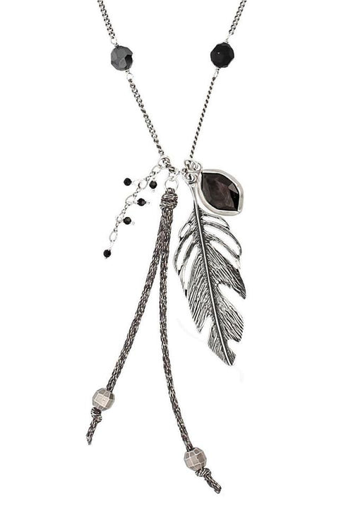 Jet Hematite and Feather Pendant Necklace