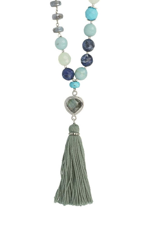 Amazonite Mix Tassel Necklace
