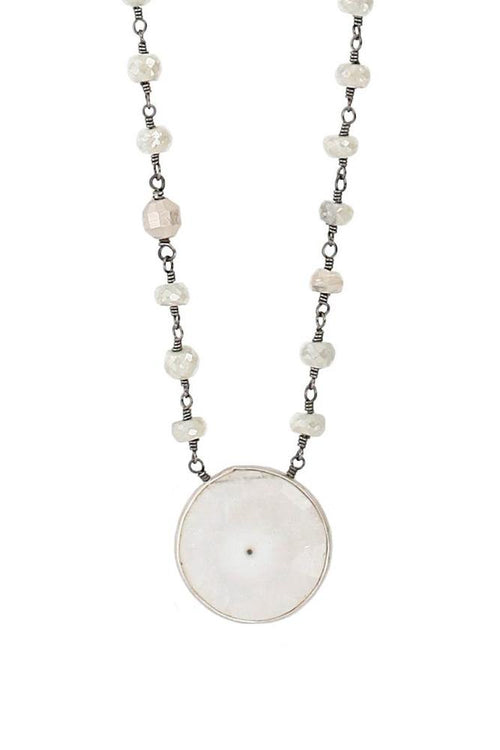 Solar Quartz Silver Pendant Necklace