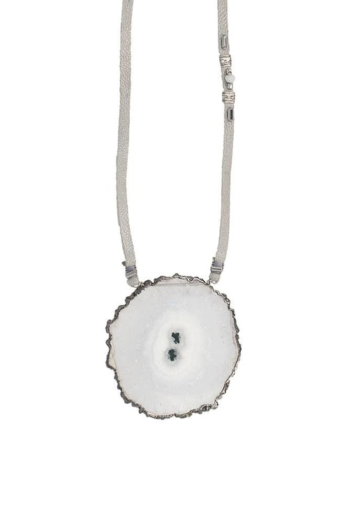 Solar Quartz Grey Leather Necklace