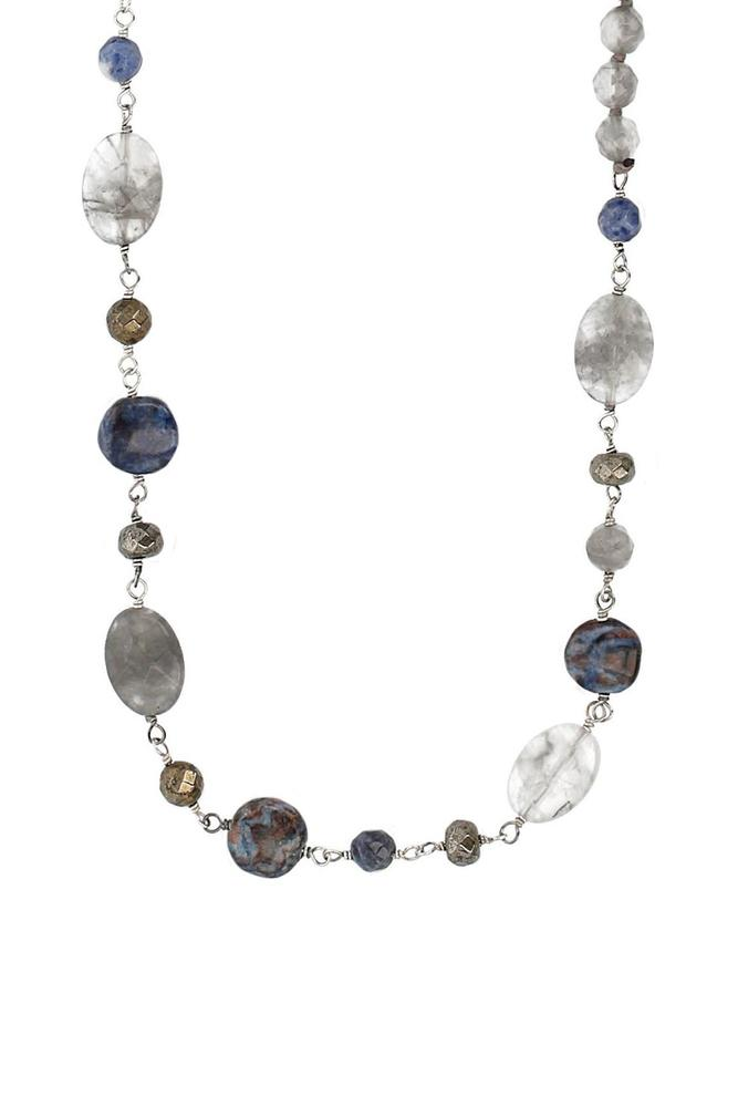Blue Mix Beaded Layering Necklace