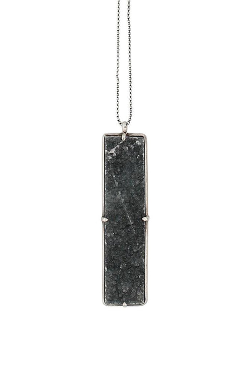 Natural Black Agate Rectangle Pendant Necklace