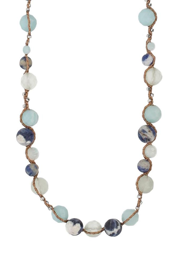 Blue Mix Wax Cord Necklace