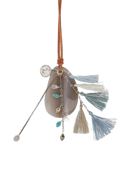 Blue Mix Charm and Tassel Necklace