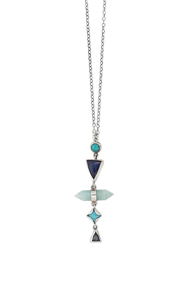 Blue Stone Silver Necklace
