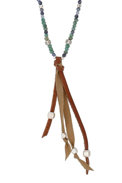 Green Mix Leather Tassel Necklace