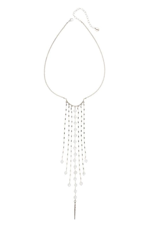Mystic Clear Chalcedony Fringe Necklace