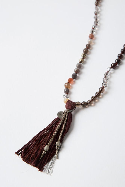Garnet Mix Mokuba Tassel Necklace