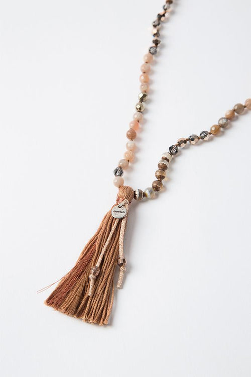 Peach Mix Tassel Necklace