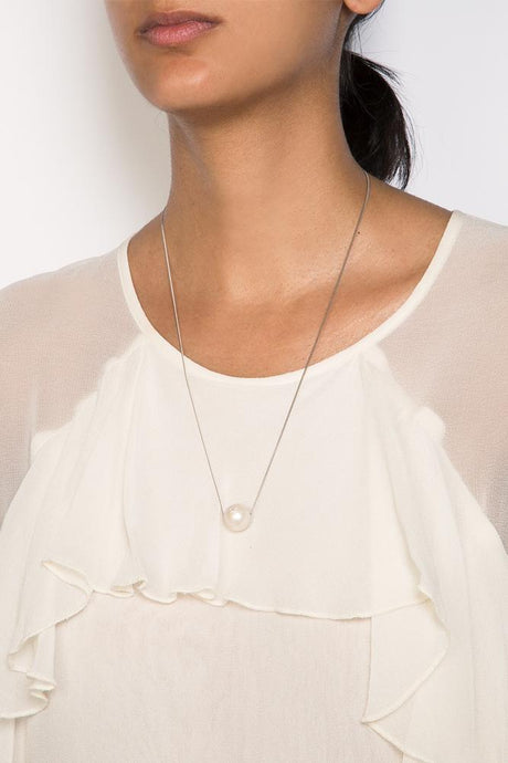 White Floating Pearl Necklace