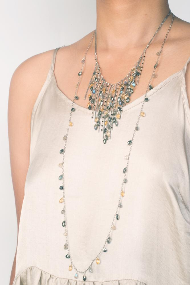 Pyrite Mix Marquise Layering Necklace