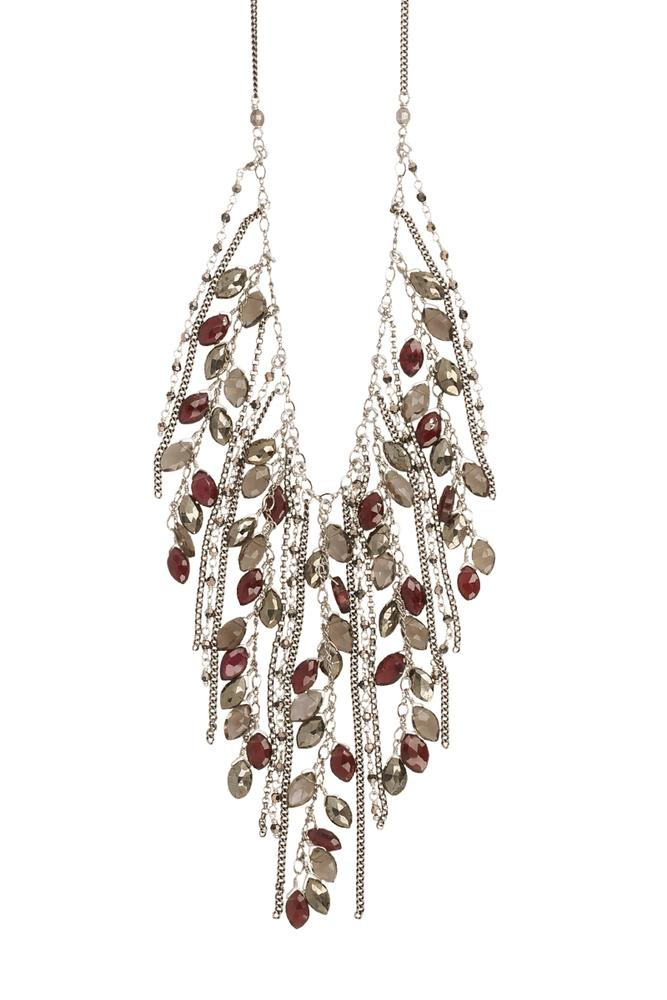 Garnet Mix Fringe Necklace