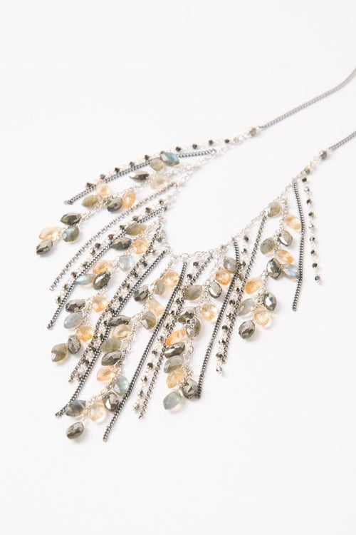 Pyrite Mix Fringe Necklace