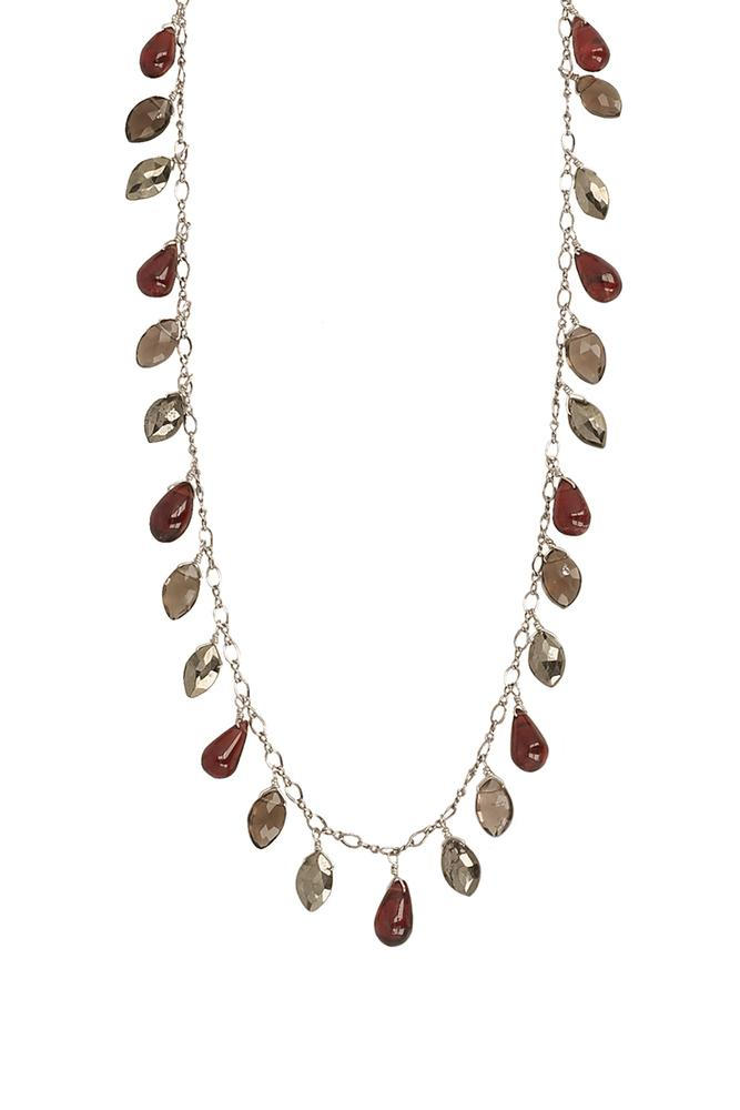 Garnet Mix Short Marquise Necklace