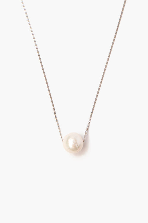 White Pearl Long Floating Necklace