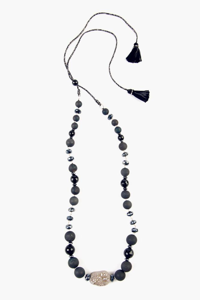 Black Agate Mix Adjustable Necklace