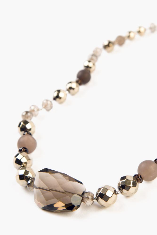 Smokey Quartz Mix Adjustable Necklace