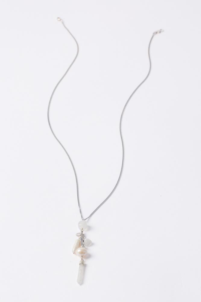 White Mixed Layering Charm Necklace