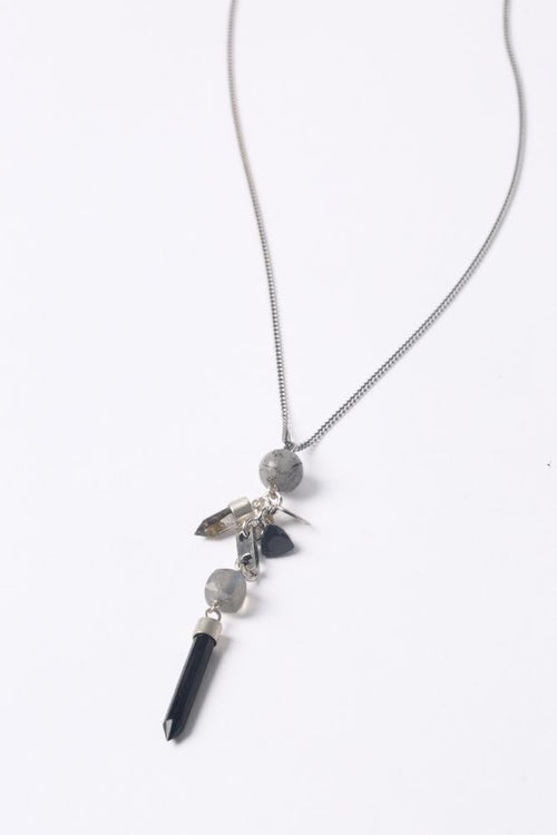 Labradorite Mix Layering Charm Bullet Necklace