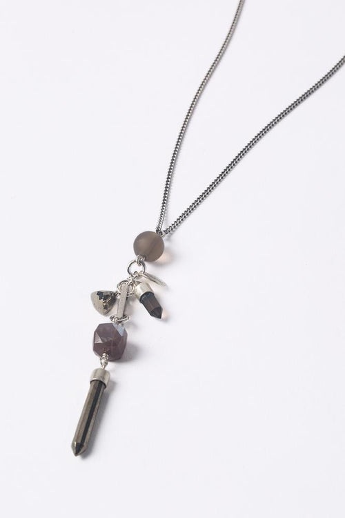 Pyrite Mix Layering Charm Dagger Necklace