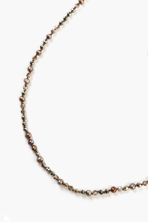 Dark Champagne Mix Beaded Layering Necklace