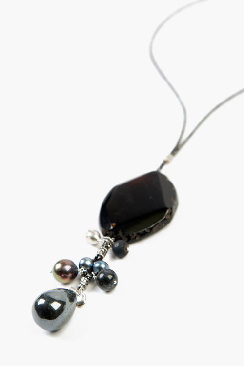 Black Mix Pendant Charm Necklace