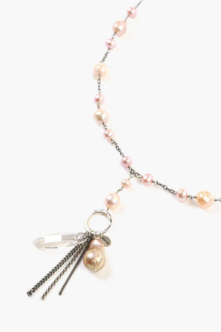 Natural Pink Pearl Drop Necklace