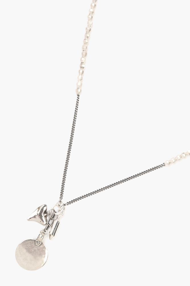 Silver Charm Bead Necklace