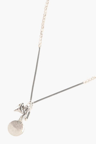 Silver Etched Charm Necklace