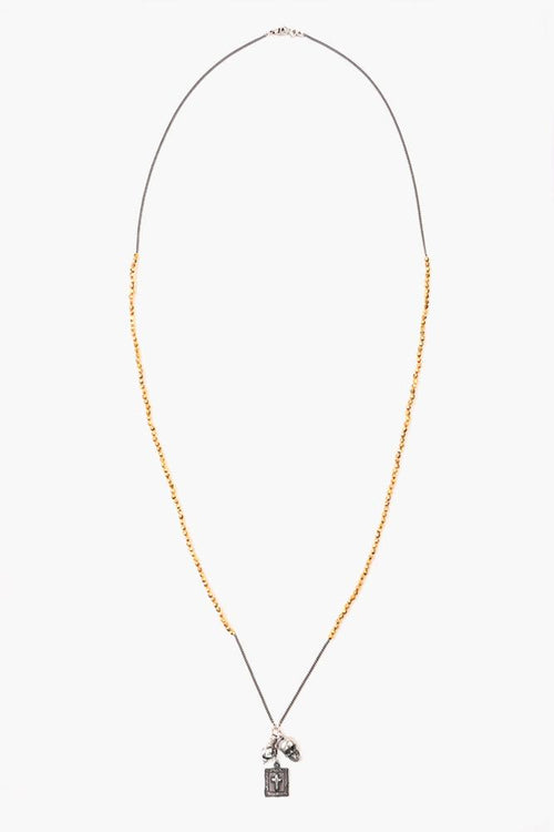 Yellow Gold Charm Bead Necklace