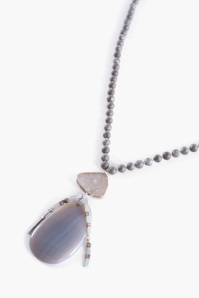 Silver Agate Statement Necklace