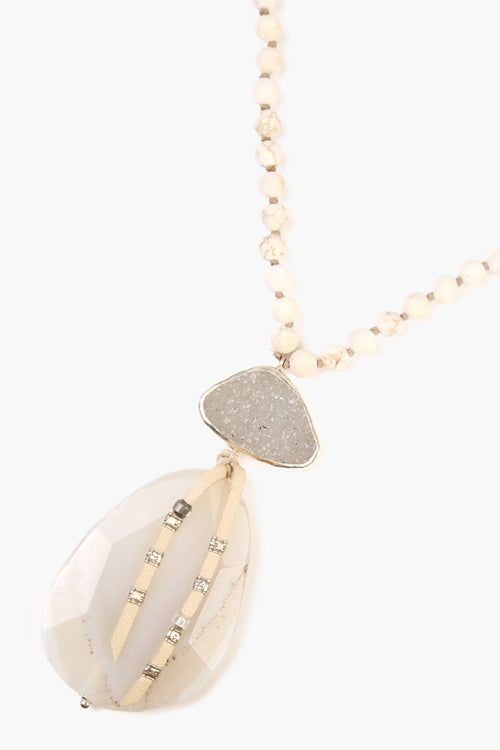 White Magnesite Mix Pendant Necklace