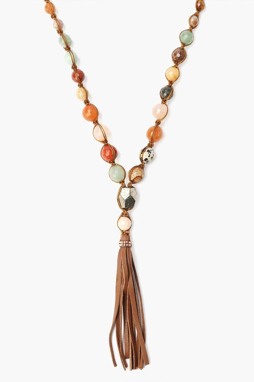 Multi-Stone Necklace Leather Tassel Necklace
