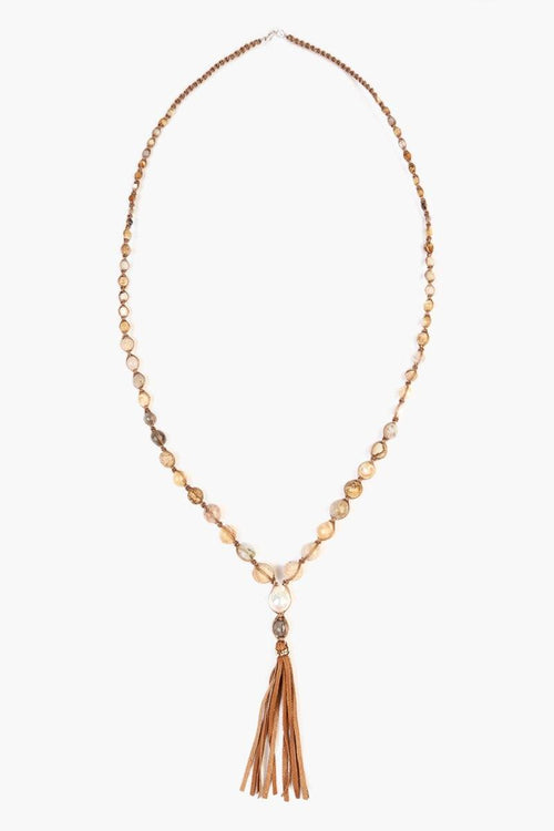 Natural Mix Stone Leather Tassel Necklace