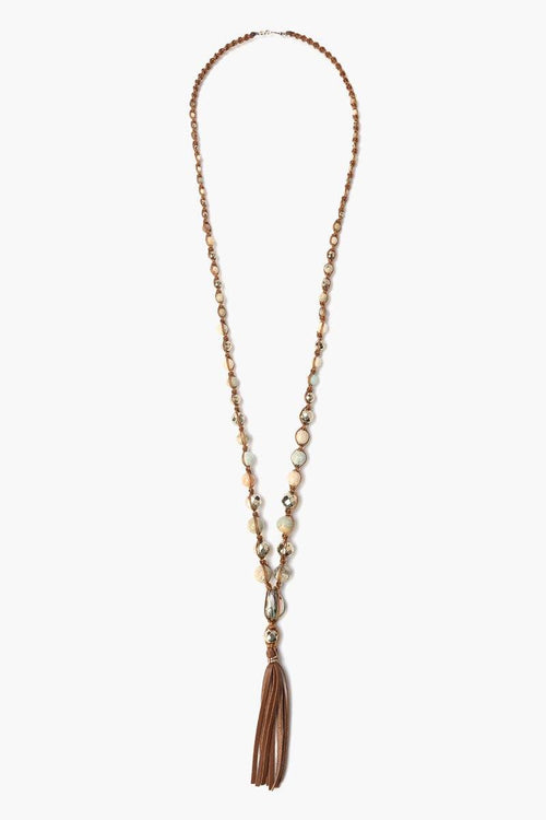 Aqua Terra Mix Leather Tassel Necklace