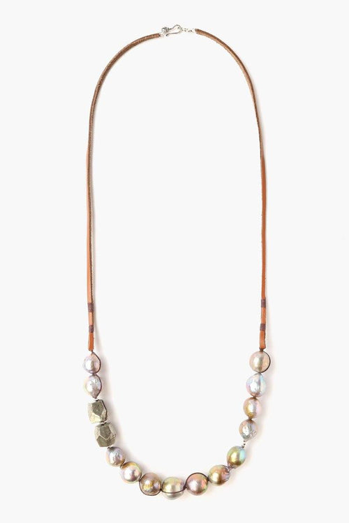 Dark Champagne Pearl Leather Necklace