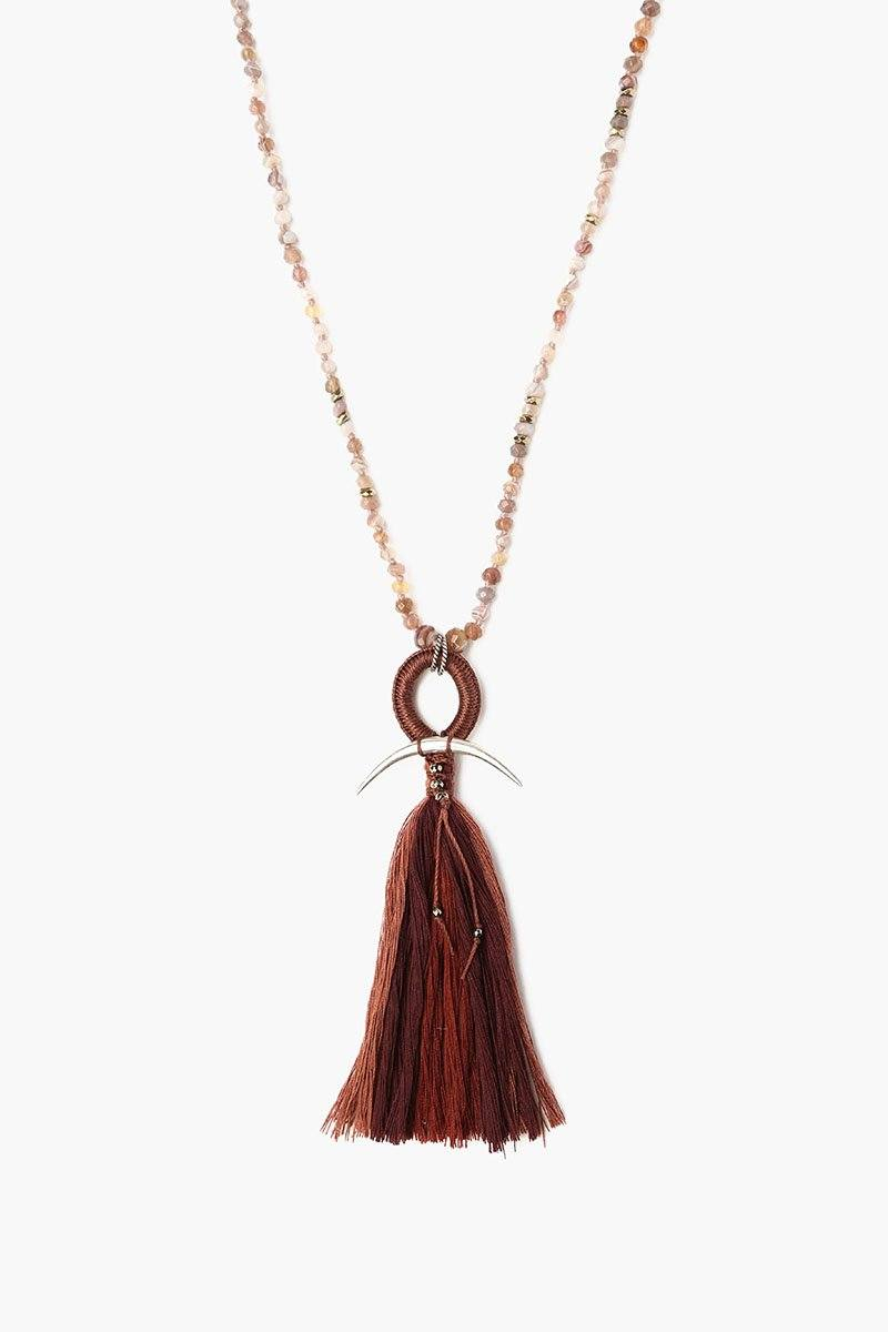 Botswana Agate Mix Horn And Tassel Layering Necklace