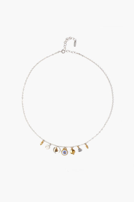 White Mix Evil Eye Charm Short Necklace