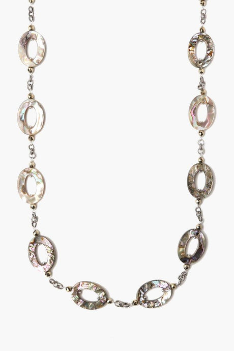 Abalone And Pyrite Long Necklace