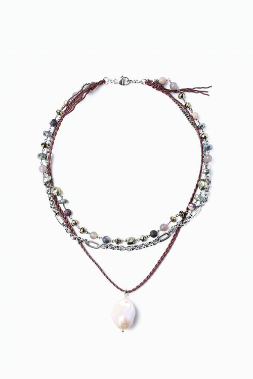 Pyrite Mix Freshwater Pearl Pendant Pre-Layered Short Necklace