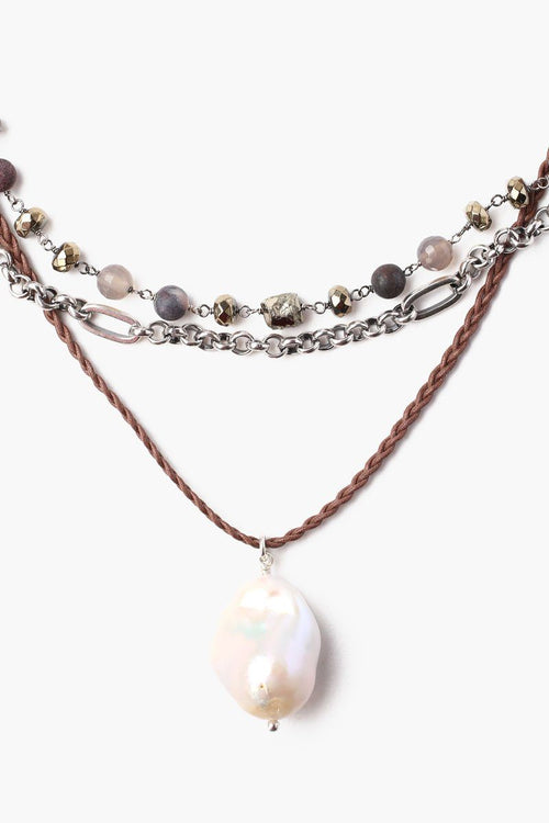 Pyrite Mix Baroque Pearl Pendant Pre-Layered Short Necklace