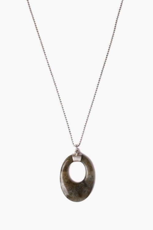 Labradorite Oval Pendant Long Necklace