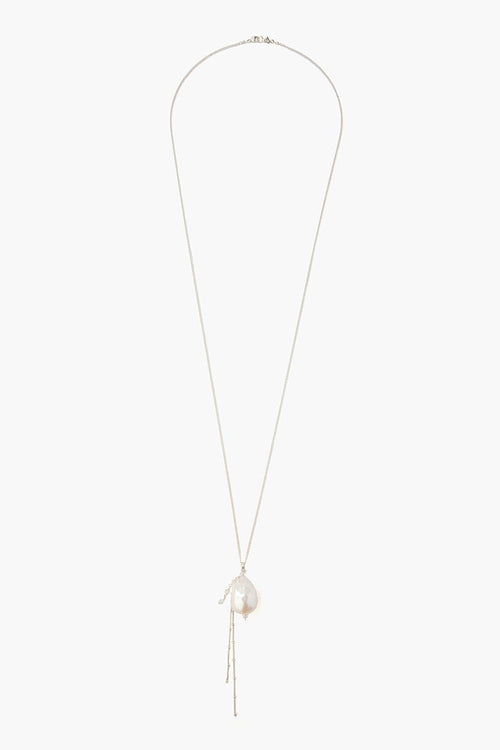 White Baroque Pearl Pendant Long Necklace