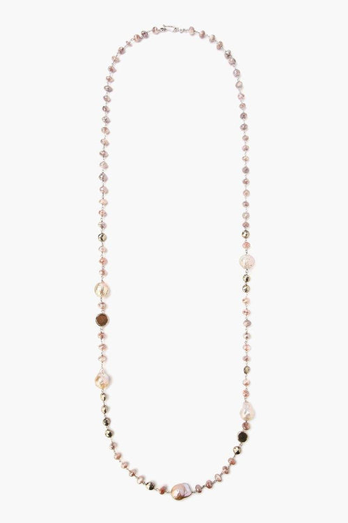 Pink Moonstone  and Pearl Long Layering Necklace
