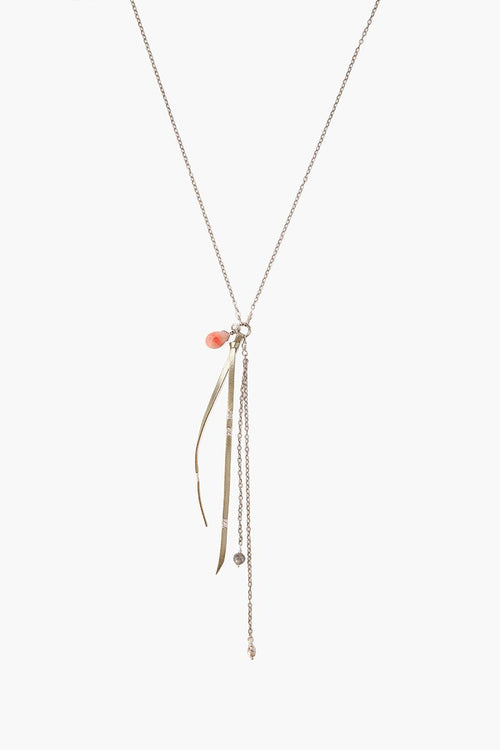 Pink Mix and Leather Tassel Y Necklace